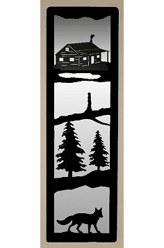 Cabin and Fox Large Accent Mirror Wall Art