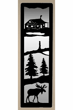 Cabin and Moose Large Accent Mirror Wall Art