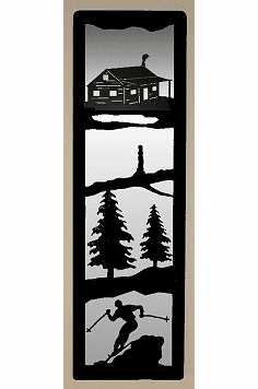 Cabin and Skier Large Accent Mirror Wall Art