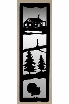 Cabin and Turkey Large Accent Mirror Wall Art