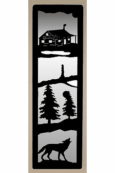Cabin and Wolf Large Accent Mirror Wall Art