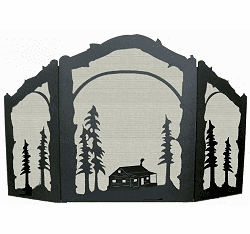 Cabin Arched or Straight Fireplace Screen
