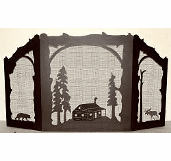 Cabin, Bear and Moose Arched or Straight Top Fireplace Screen