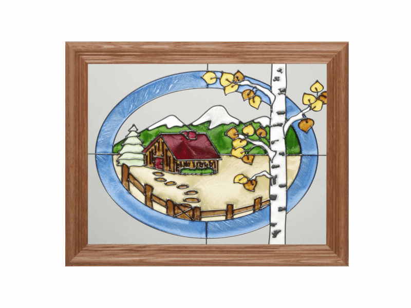 Cabin In Summer Stained Glass Art Glass