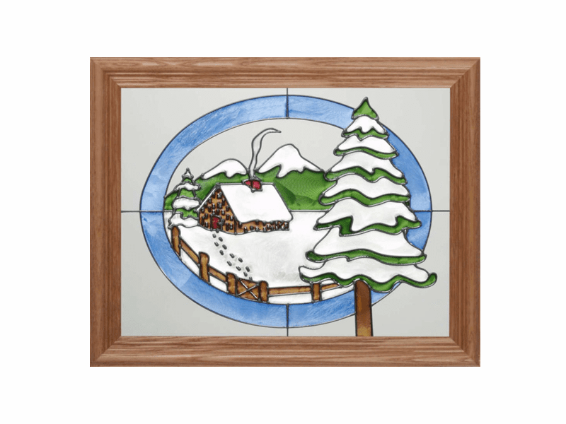 Cabin in Winter Stained Glass Art Glass