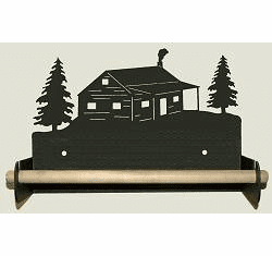 Cabin Paper Towel Holder with Wood Bar