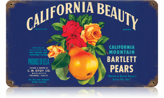 California Bartlett Pears Sign - Produce Label Sign
