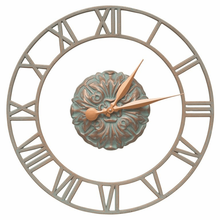 Cambridge Floating Ring 21 inches Indoor Outdoor Wall Clock - Copper Verdigris