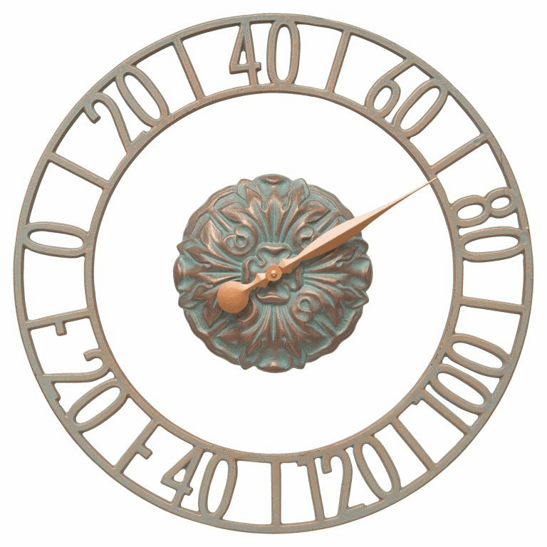 Cambridge Floating Ring 21 inches Indoor Outdoor Wall Thermometer - Copper Verdigris
