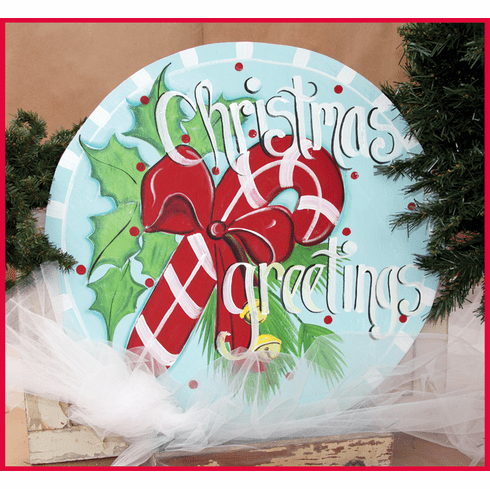 Candy Cane Merry Christmas Wood Sign, 24 inch round