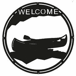 Canoe Round Welcome Sign