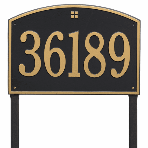 Cape Charles Estate Lawn One Line Plaque in Black and Gold