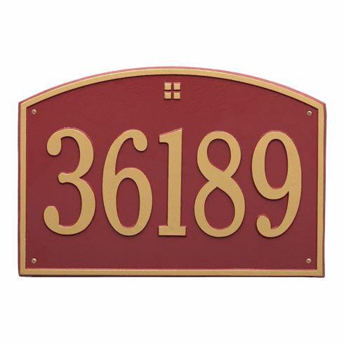 Cape Charles Estate Wall One Line Plaque in Red and Gold