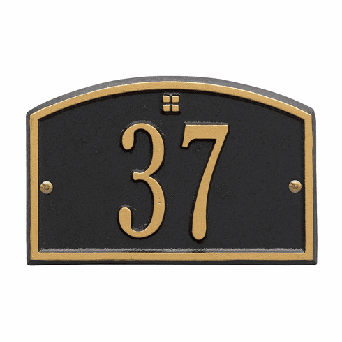 Cape Charles Petite Wall One Line Plaque in Black and Gold