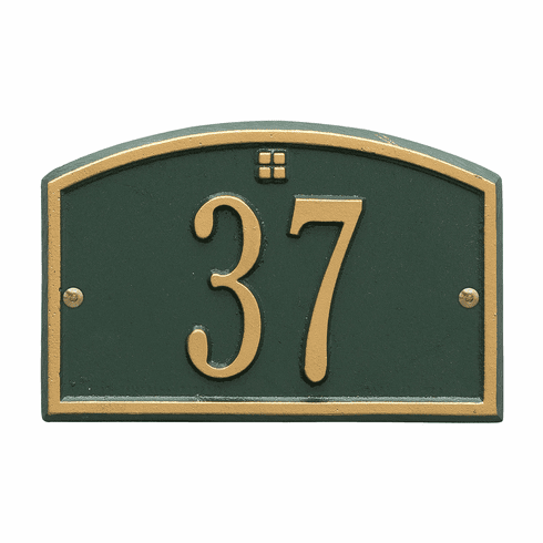 Cape Charles Petite Wall One Line Plaque in Green and Gold