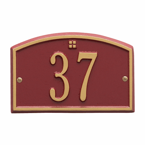 Cape Charles Petite Wall One Line Plaque in Red and Gold