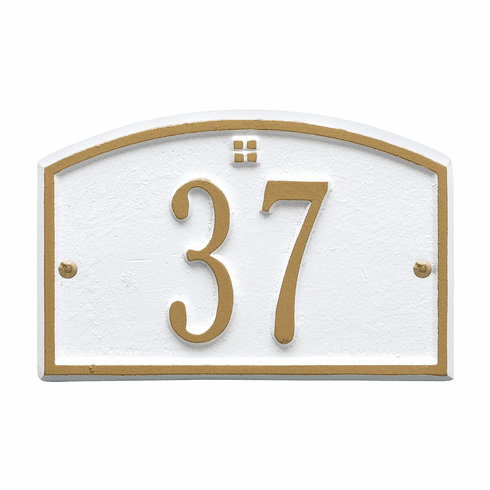 Cape Charles Petite Wall One Line Plaque in White and Gold