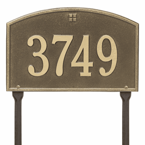 Cape Charles Standard Lawn One Line Plaque in Antique Brass