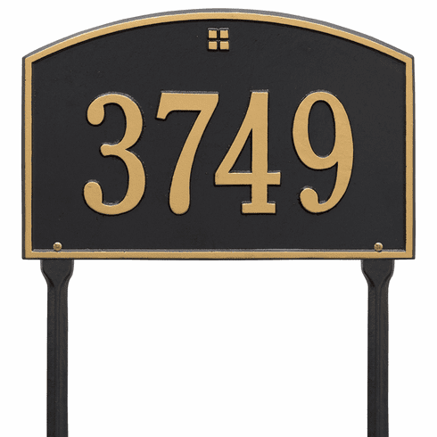 Cape Charles Standard Lawn One Line Plaque in Black and Gold