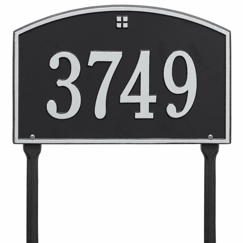 Cape Charles Standard Lawn One Line Plaque in Black and Silver