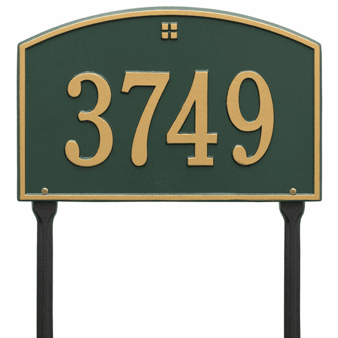Cape Charles Standard Lawn One Line Plaque in Green and Gold