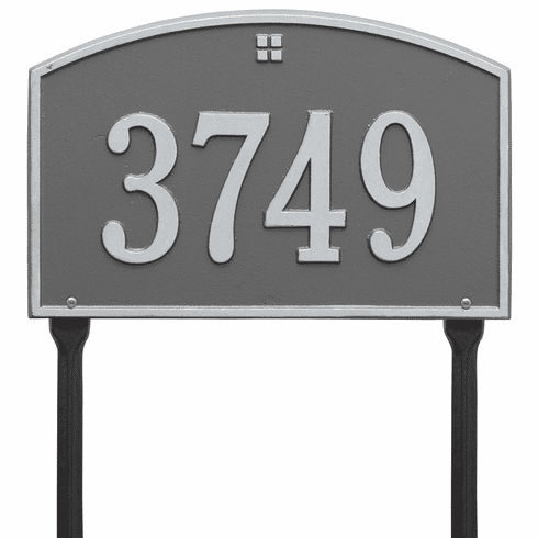 Cape Charles Standard Lawn One Line Plaque in Pewter and Silver