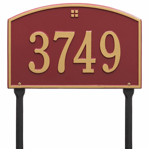 Cape Charles Standard Lawn One Line Plaque in Red and Gold