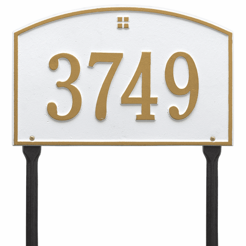 Cape Charles Standard Lawn One Line Plaque in White and Gold