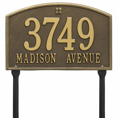 Cape Charles Standard Lawn Two Line Plaque in Antique Brass