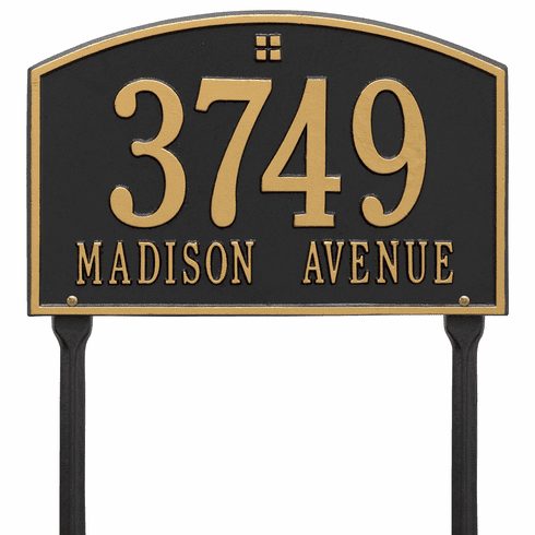 Cape Charles Standard Lawn Two Line Plaque in Black and Gold