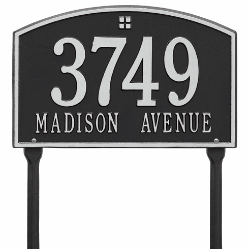 Cape Charles Standard Lawn Two Line Plaque in Black and Silver