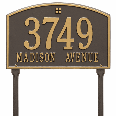 Cape Charles Standard Lawn Two Line Plaque in Bronze and Gold