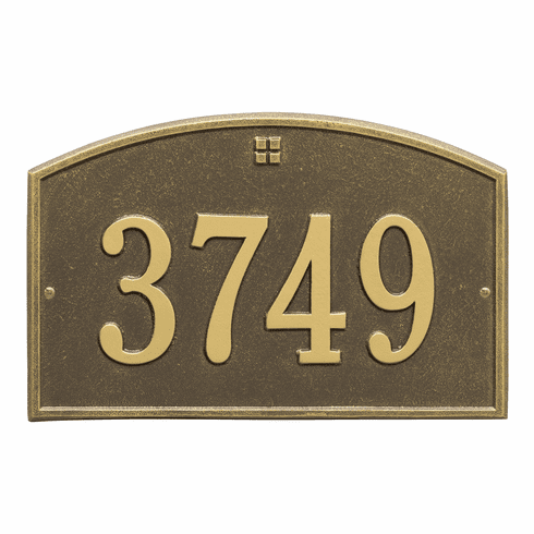 Cape Charles Standard Wall One Line Plaque in Antique Brass