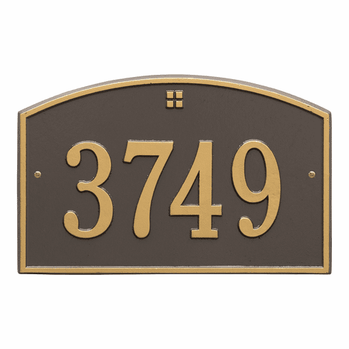 Cape Charles Standard Wall One Line Plaque in Bronze and Gold
