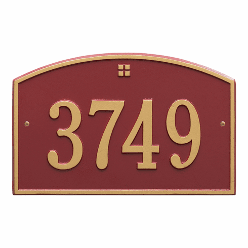 Cape Charles Standard Wall One Line Plaque in Red and Gold