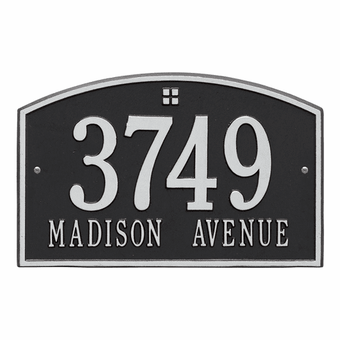 Cape Charles Standard Wall Two Line Plaque in Black and Silver