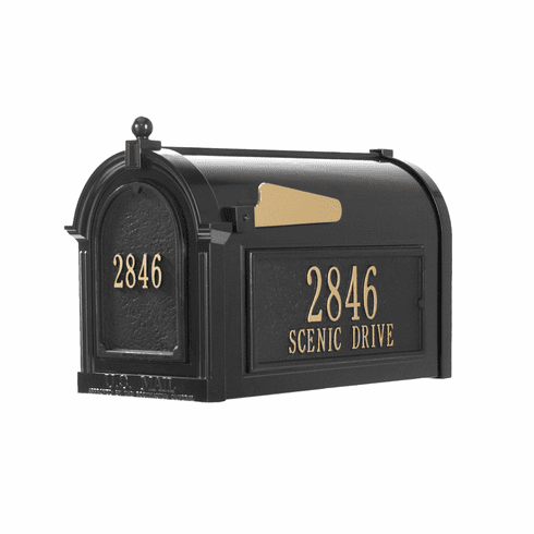 Capitol Mailbox Side Plaques And Door Plaque Package in Black