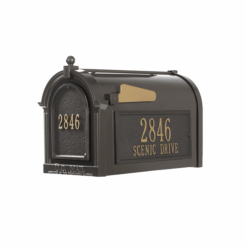 Capitol Mailbox Side Plaques And Door Plaque Package in Bronze