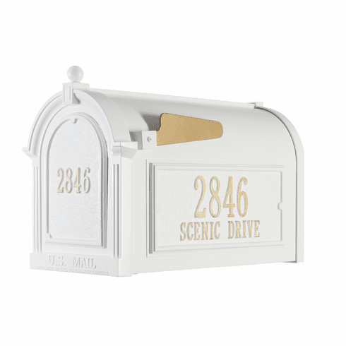 Capitol Mailbox Side Plaques And Door Plaque Package in White