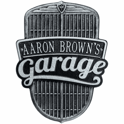 Car Grille Garage Standard Wall One Line Plaque in Black and Silver