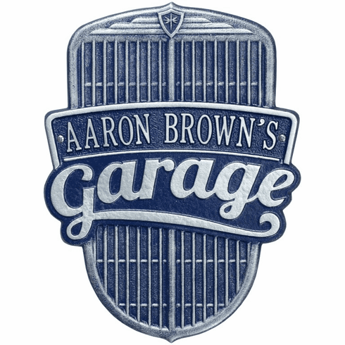 Car Grille Garage Standard Wall One Line Plaque in Dark Blue and Silver