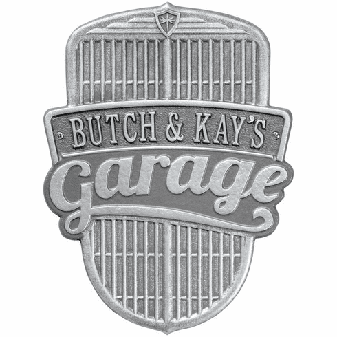 Car Grille Garage Standard Wall One Line Plaque in Pewter and Silver