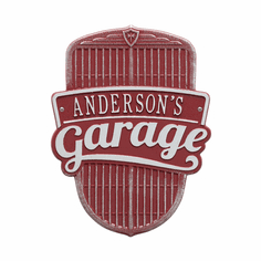 Car Grille Garage Standard Wall One Line Plaque in Red and Silver