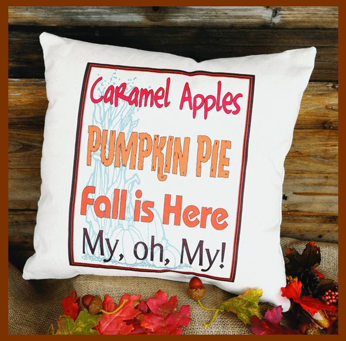 Caramel Apples and Pumpkin Pie Thanksgiving Pillow, 17in x 17in