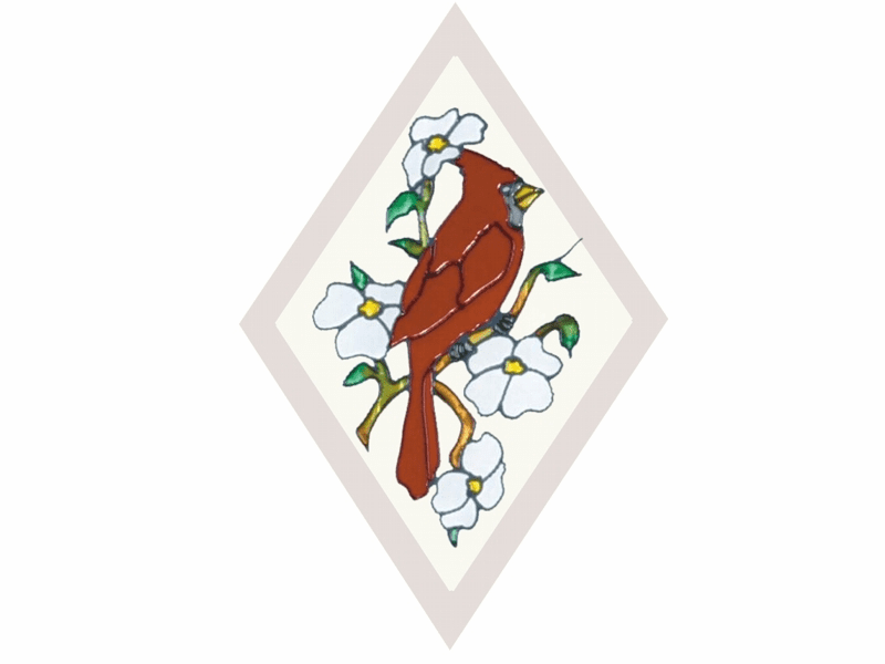 Cardinal in Diamond I Stained Glass Art Glass