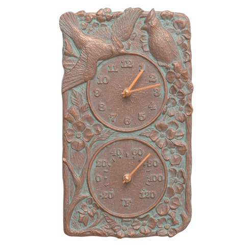 Cardinal Indoor Outdoor Wall Clock & Thermometer - Copper Verdigris