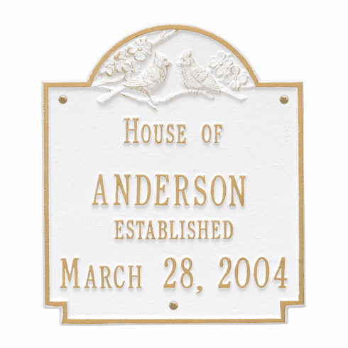 Cardinal Wedding Plaque Standard Wall Two Line Plaque in White and Gold