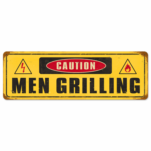Caution - Men Grilling Humorous Sign