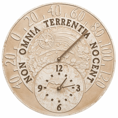 Celestial 14 inches Indoor Outdoor Wall Clock & Thermometer - Weathered Limestone