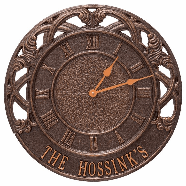 Chateau 16 inches Personalized Indoor Outdoor Wall Clock - Antique Copper